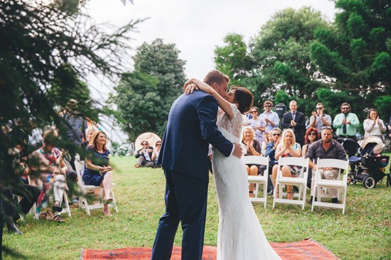 First kiss at Maleny wedding