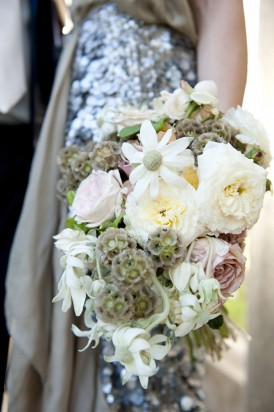 Flannel flower and rose bouquet