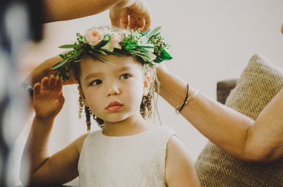 Flowergirl with olive leaf crown