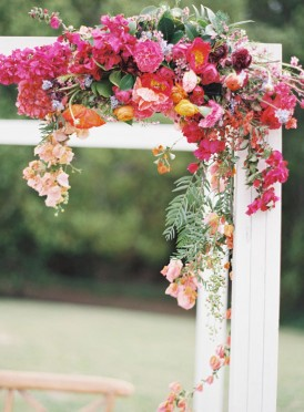 Fuschia and coral wedding flowers