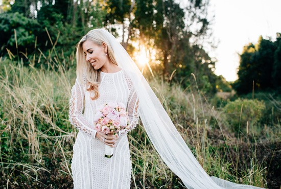 Gold coast bride in long sleeve gown
