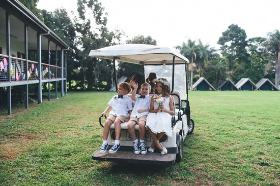 Golf cart wedding transport