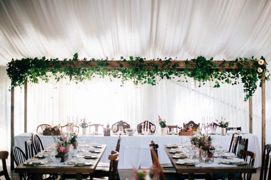 Green garland wedding decor