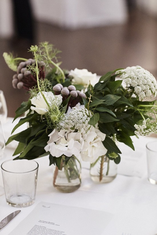 Greena dn white wedding flowers with Queen Annes Lace