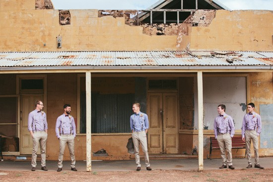 Groom and groomsmen in chinos and checked shirts