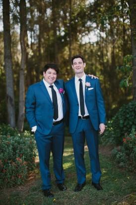 Groom and groomsmen in navy suits