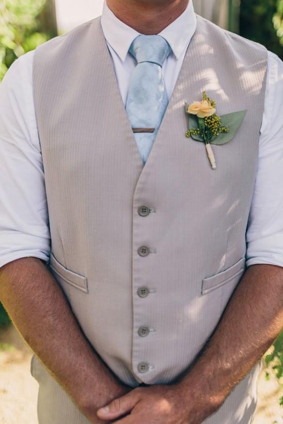Groom in taupe waistcoat