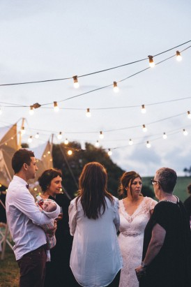 Guests at festival wedding