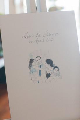 Hand drawn portrait wedding welcome sign
