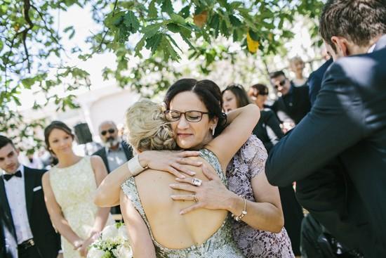 Hugging new bride