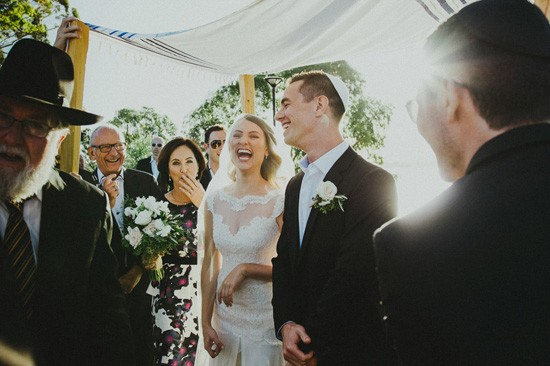 Jewish wedding newlyweds