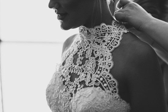 Lace halterneck bridal gown