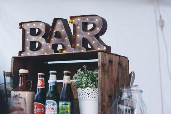 Lit up wedding bar sign