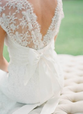 Low v back lace wedding dress