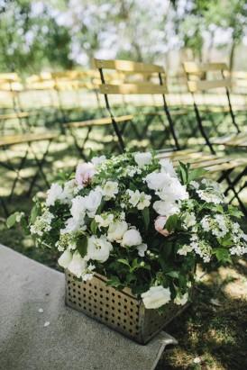 Metal box flower arrangement