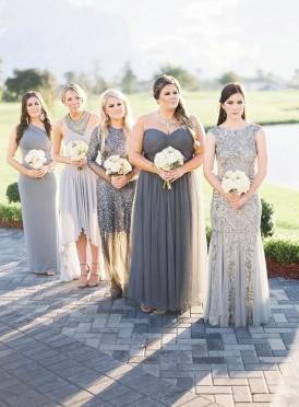 Mismatched Silver Bridesmaid Dresses