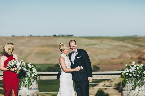 Newlyweds at Winery Wedding