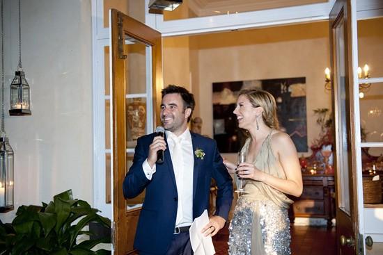 Newlyweds giving wedding speech