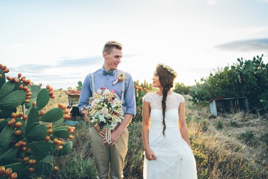 Newlyweds in country wedding