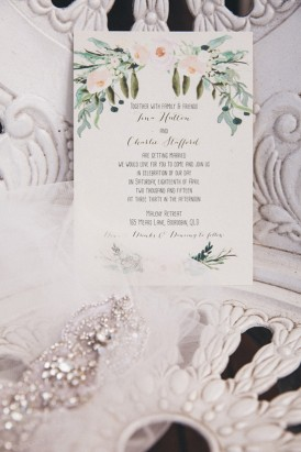 Painted flower wedding stationery