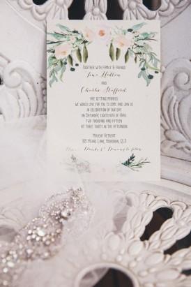 Painted flower wedding stationery