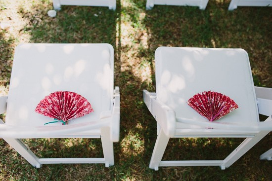 Paper fans at wedding