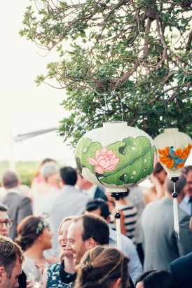 Paper lanterns at outdoor wedding reception