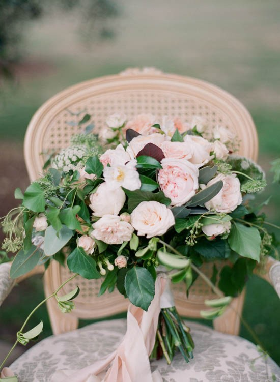 Pastel pink rose bouquet with pink ribbon