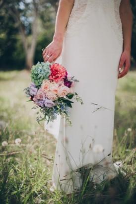 Pastel wedding bouquet with peach