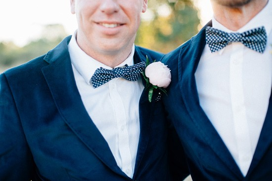 Pattern navy bow ties