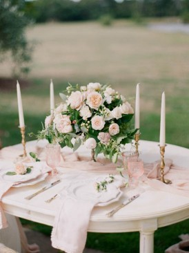 Pink and peach rose tablescape with gold candlesticks