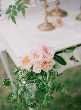 Pink and peach roses with jasmine