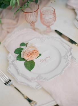 Pink and peach wedding table setting