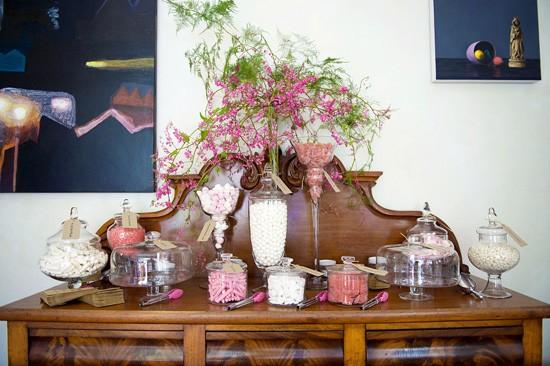 Pink candy buffett at wedding