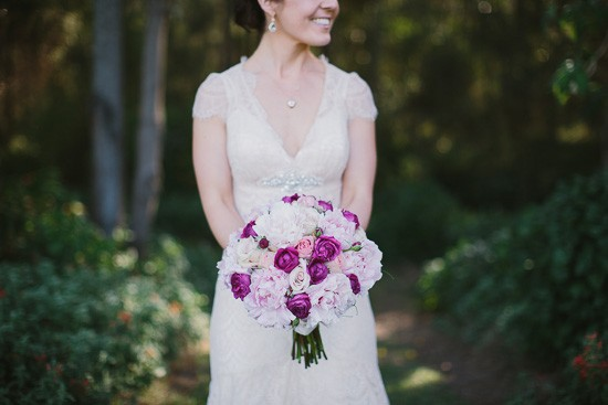 Pink peony bouquet with magenta roses