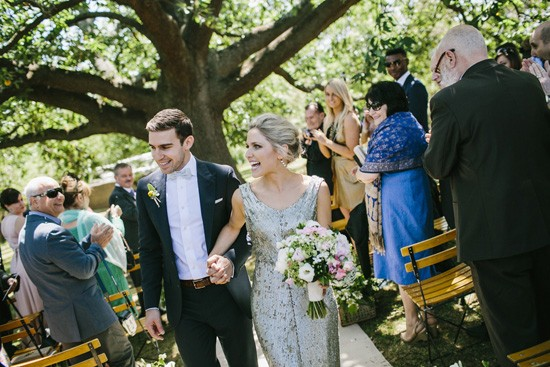 Recessional bride and groom
