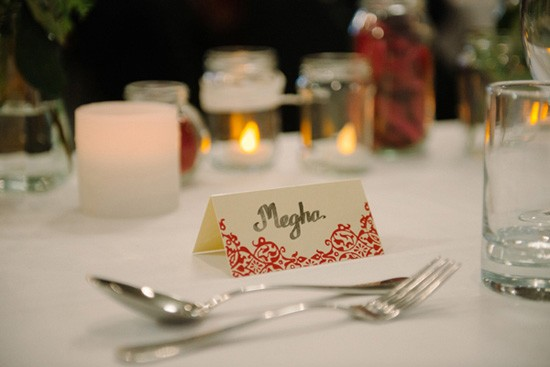 Red and cream wedding placecard
