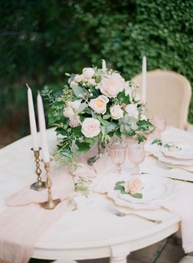 Romantic white and peach wedding table