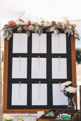 Seating chart in wooden frame