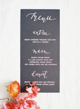 Summer calligraphy wedding menu
