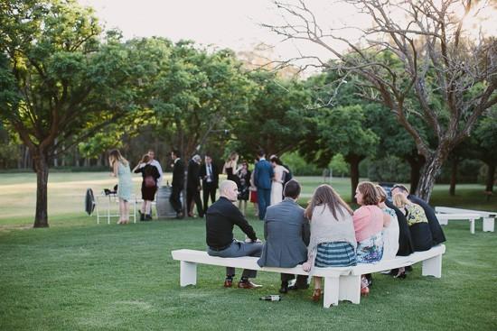 Sunset garden games at wedding
