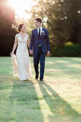 Sunset winery wedding photo
