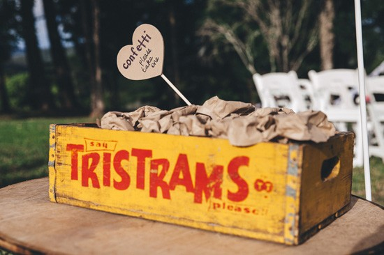 Vintage wooden box for confetti
