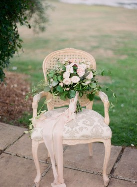 Wedding bouquet with long peach ribbon