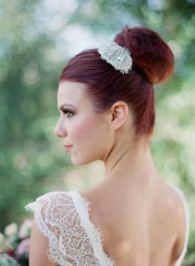 Wedding bun haistyle with crystal clip
