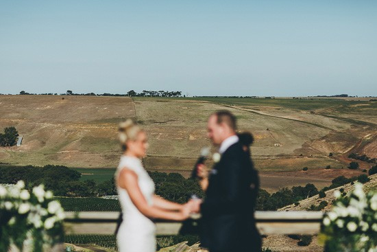 Wedding ceremony overlooking country side
