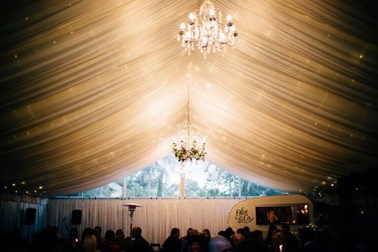 Wedding marquee with chandeliers
