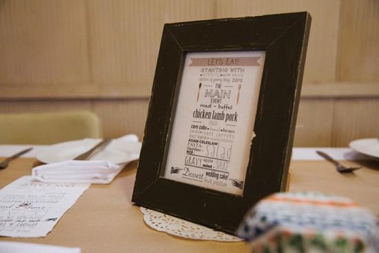 Wedding menu in frame