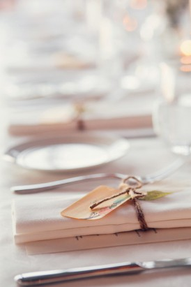 Wedding napkins tied with string