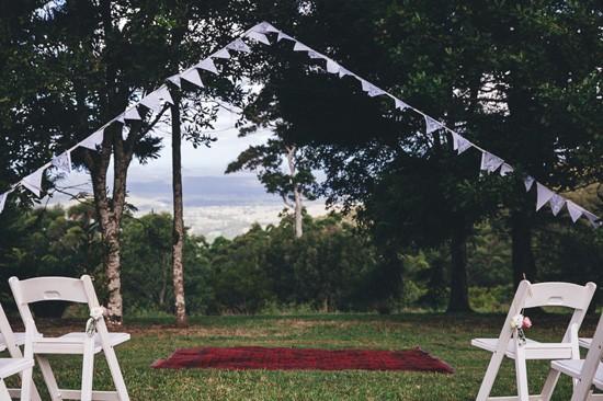 White bunting at wedding ceremony